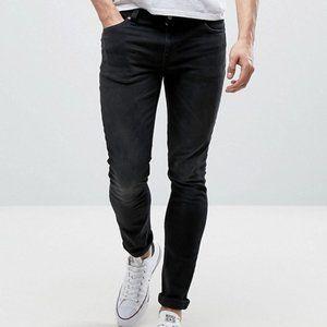 Nudie Skinny Lin Skinny Leg Jeans in Black Habit
